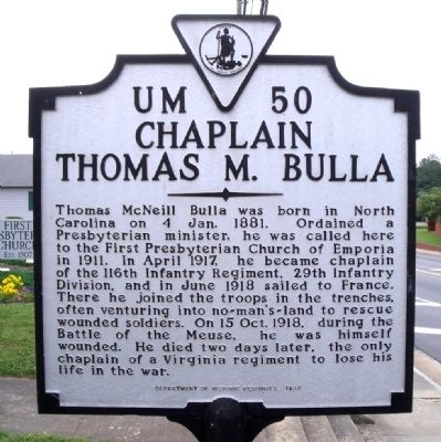 Chaplain Thomas M. Bulla Marker image. Click for full size.