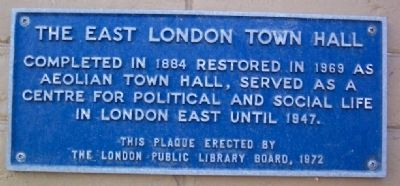 The East London Town Hall Marker image. Click for full size.
