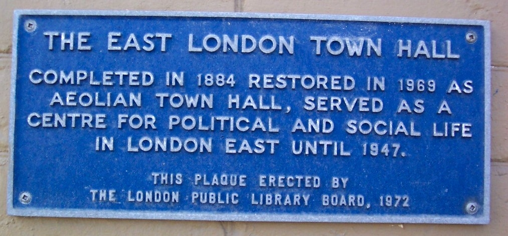 The East London Town Hall Marker