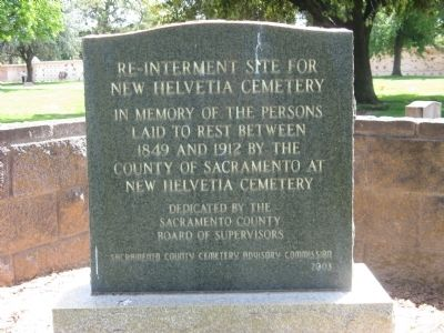 Re-Internment Site For New Helvetia Cemetery Marker image. Click for full size.