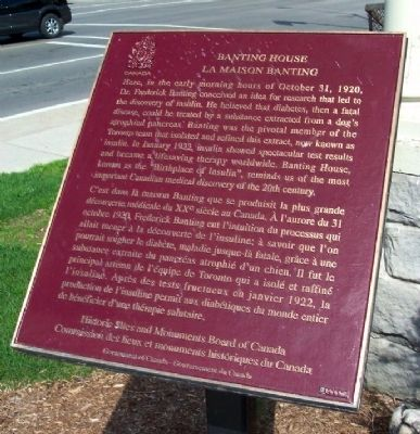 Banting House Marker image. Click for full size.
