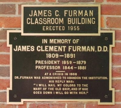 James C. Furman Classroom Building Marker image. Click for full size.