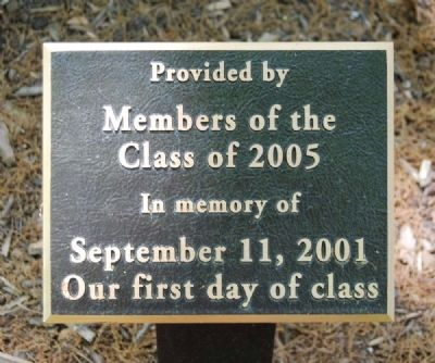 Furman Class of '05 09/11 Memorial Marker image. Click for full size.