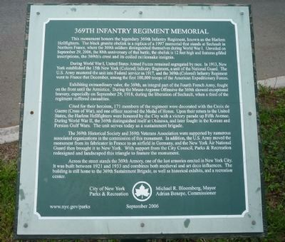 369th Infantry Regiment Memorial Marker image. Click for full size.