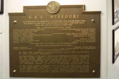 U. S. S. Missouri Marker image. Click for full size.