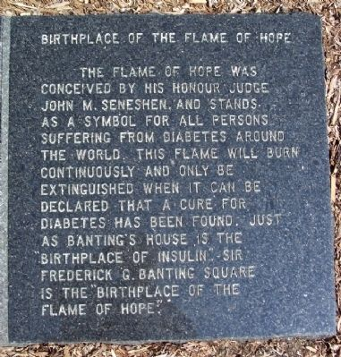Birthplace of the Flame of Hope Marker image. Click for full size.
