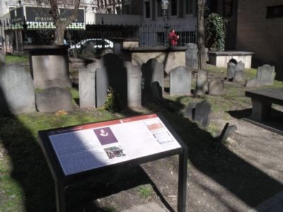 Marker in King's Chapel Burying Ground image. Click for full size.