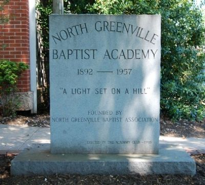 North Greenville Baptist Academy Marker image. Click for full size.