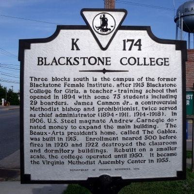 Blackstone College Marker image. Click for full size.