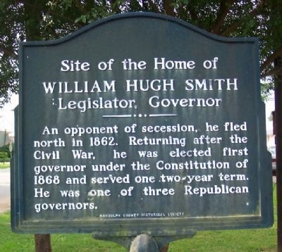Site of the Home of William Hugh Smith Marker image. Click for full size.