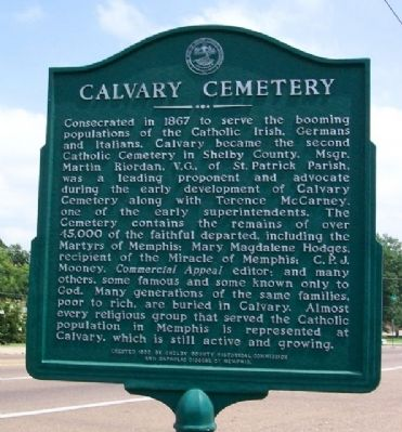 Calvary Cemetery Marker image. Click for full size.