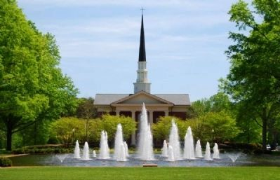 The Charles Erza Daniel Memorial Chapel -<br>Beatrice Dennis Plyer Fountain in Foreground image. Click for full size.