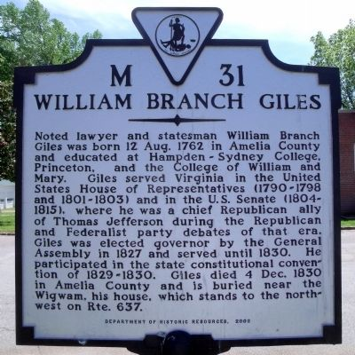 William Branch Giles Marker image. Click for full size.