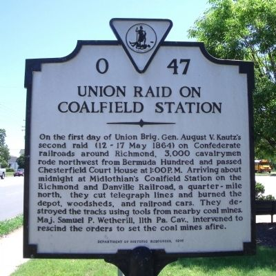 Union Raid On Coalfield Station Marker image. Click for full size.
