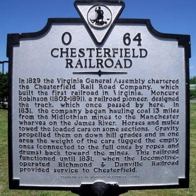 Chesterfield Railroad Marker image. Click for full size.