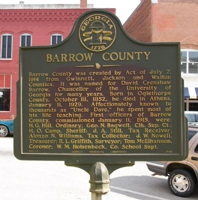 Barrow County Marker image. Click for full size.