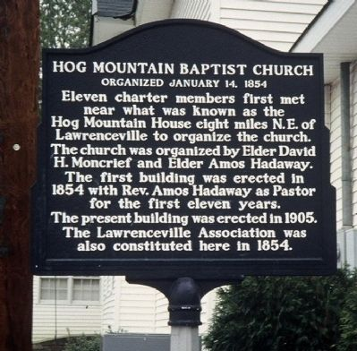 Hog Mountain Baptist Church Marker image. Click for full size.