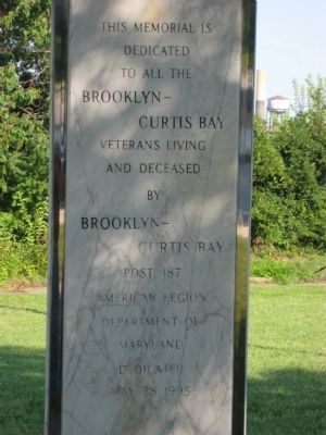 Brooklyn-Curtis Bay Veterans Marker image. Click for full size.