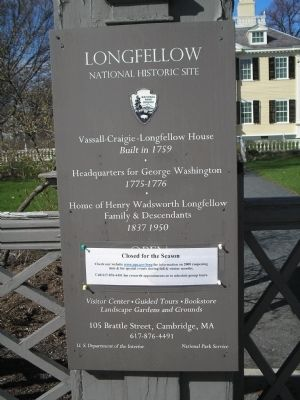 Vassall-Craigie-Longfellow House Marker image. Click for full size.