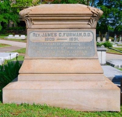 James Clement Furman Tombstone -<br>Springwood Cemetery, Greenville, SC image. Click for full size.