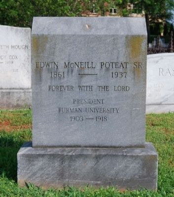 Edwin M. Poteat Tombstone -<br>Springwood Cemetery, Greenville, SC image. Click for full size.