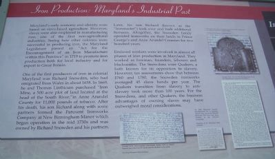 Iron Production: Maryland&#39;s Industrial Past - The Iron Making Process Marker </b>(left side) image. Click for full size.