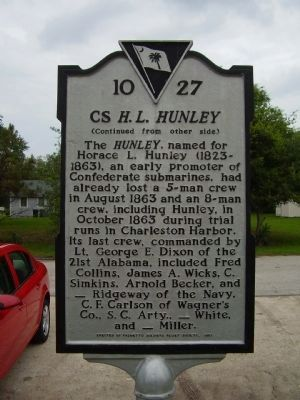 CS <i>H.L. Hunley</i> Marker - Side B image. Click for full size.