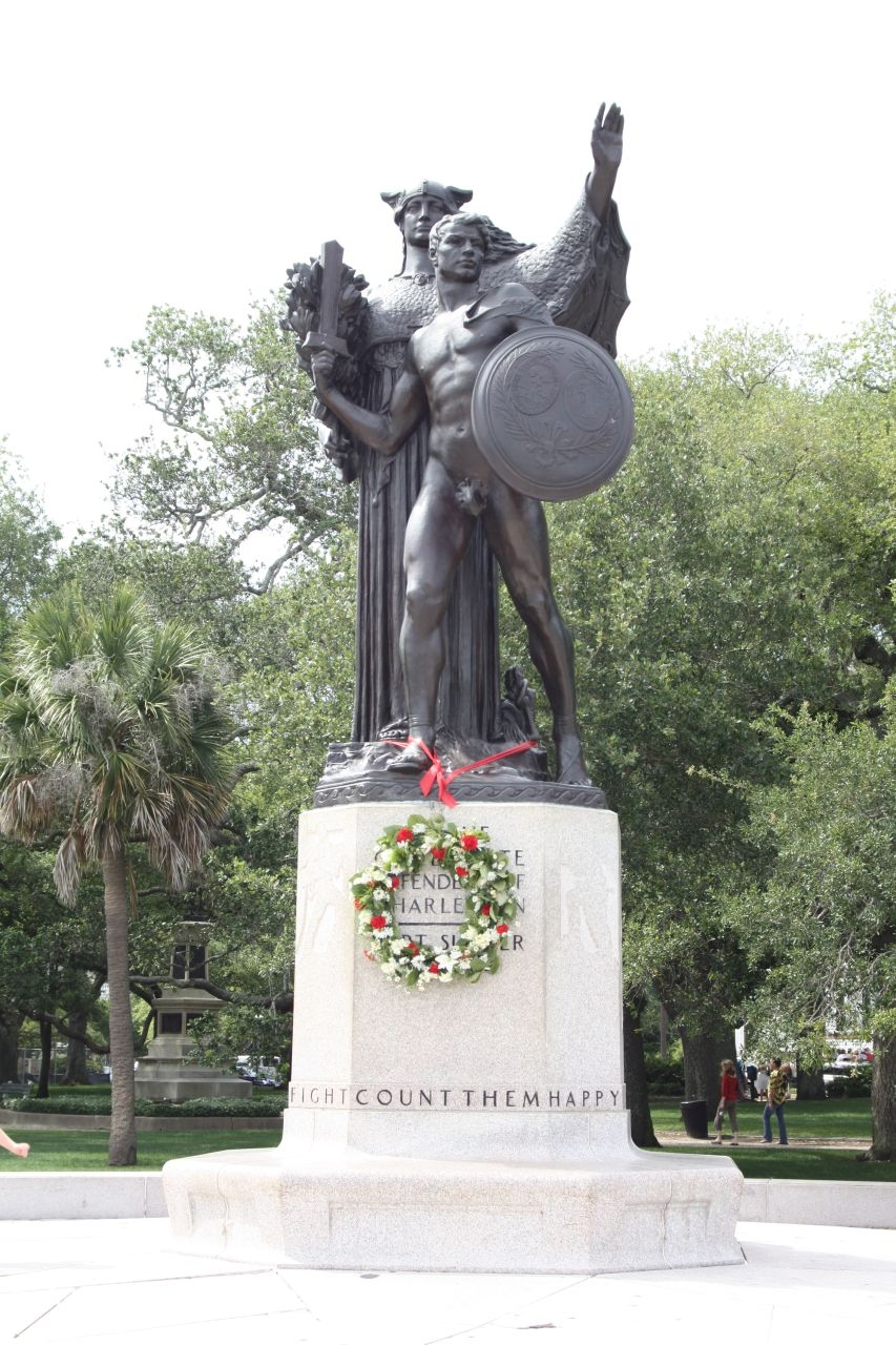 Confederate Defenders of Charleston Marker with Memorial Wreath