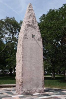 USS Hobson Tribute Marker, Reverse side , with Sundial image. Click for full size.