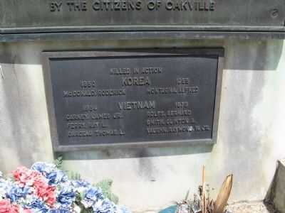 Oakville World War II Memorial Small Plaque: Korea and Vietnam Wars image. Click for full size.