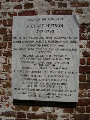 Richard Hutson Marker image. Click for full size.