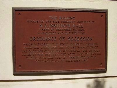 Ordinance of Secession Marker image. Click for full size.