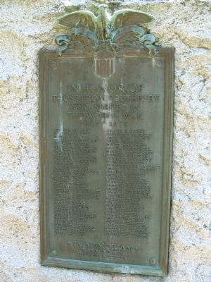 Southbury World War I Memorial Marker image. Click for full size.