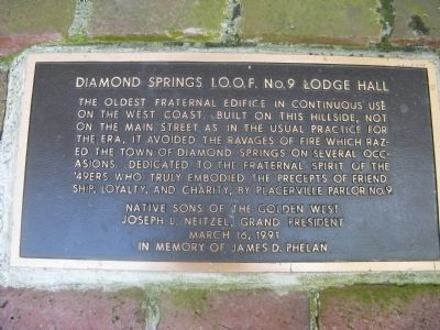 Diamond Springs I.O.O.F. No. 09 Lodge Hall Marker image. Click for full size.