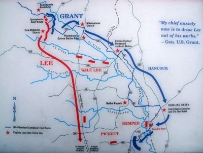 CWT Map - 1864 Overland Campaign Tour Route image. Click for full size.