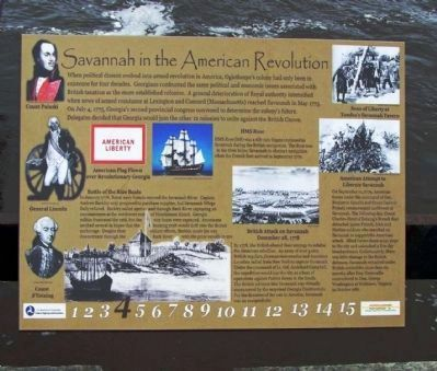 Savannah in the American Revolution Marker is found along the Riverwalk on River St, image. Click for full size.