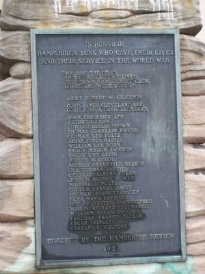 Hampshire County World War I Memorial Marker image. Click for full size.