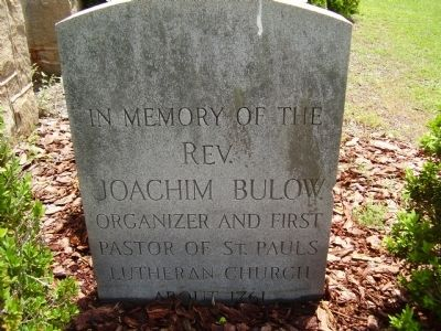 Rev. Joachim Bulow. Marker image. Click for full size.