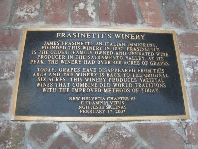 Frasinetti's Winery Marker image. Click for full size.