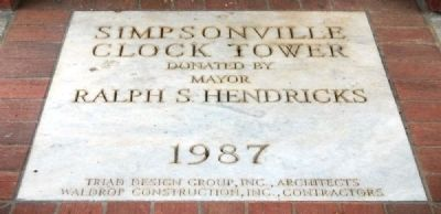 Simpsonville Clock Tower Marker image. Click for full size.