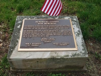 Bronze Marker - - Hendricks County (Danville, Indiana) War Memorial image. Click for full size.
