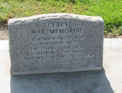Ceres War Memorial Marker image. Click for full size.