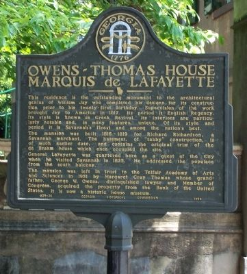 Owens-Thomas House Marker image. Click for full size.