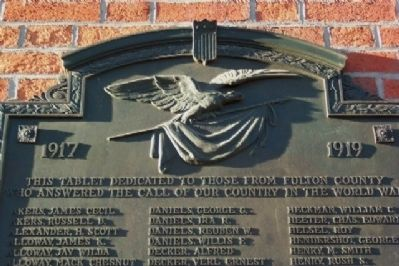 Fulton County World War I Memorial Marker Detail image. Click for full size.