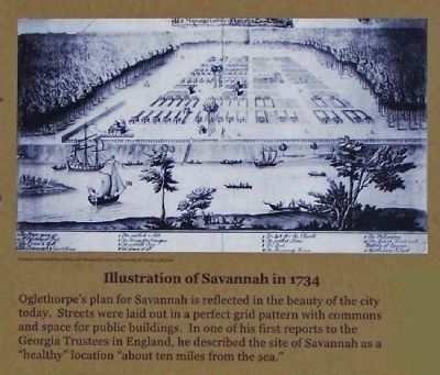 Illustration of Savannah in 1734 image. Click for full size.