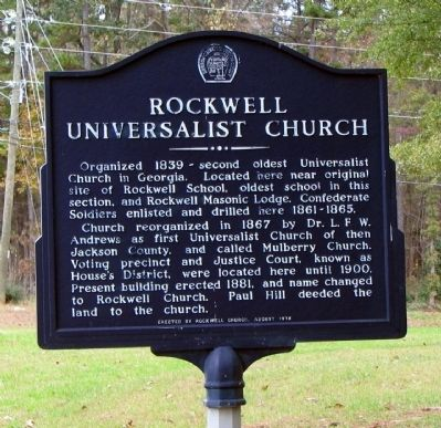 Rockwell Universalist Church Marker image. Click for full size.