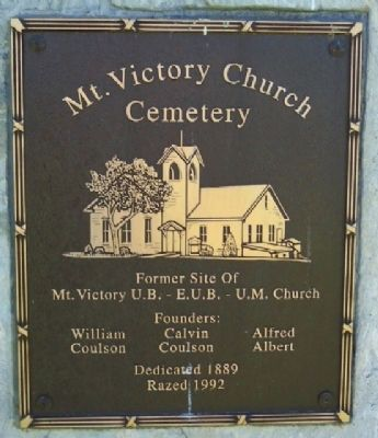 Mt. Victory Church Cemetery Marker image. Click for full size.