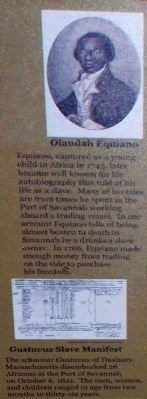 "Far right pictures : Olaudah Equiano and "" Gustavus' "" Slave Manifest image. Click for full size."