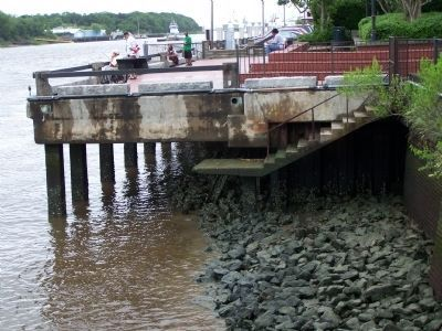 Savannah's Wharves at low tide as seen today image. Click for full size.