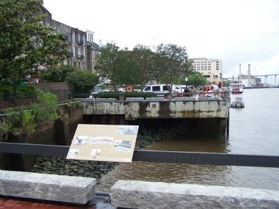 Savannah's Wharves Marker seen riverside, wharf area image. Click for full size.